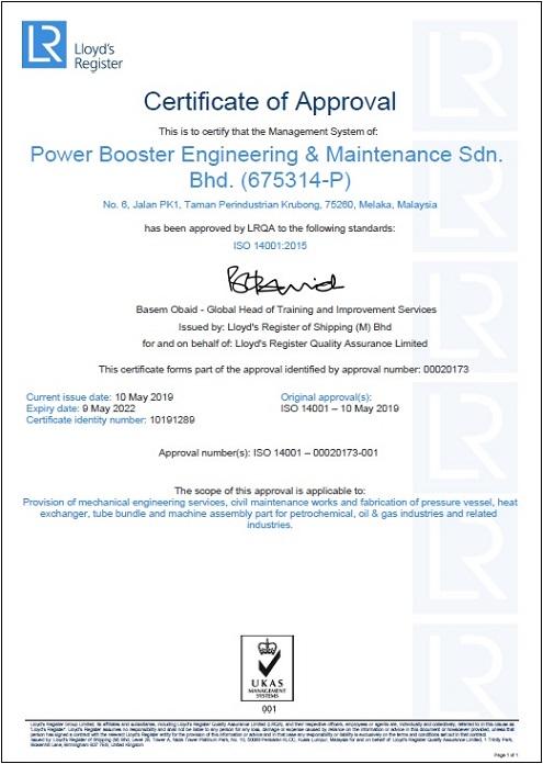 ISO 14001:2015 (Cert.No. 10191289)