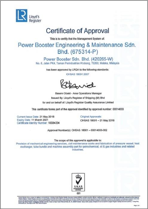OHSAS 18001: 2007 (Cert. No. : 10084334)