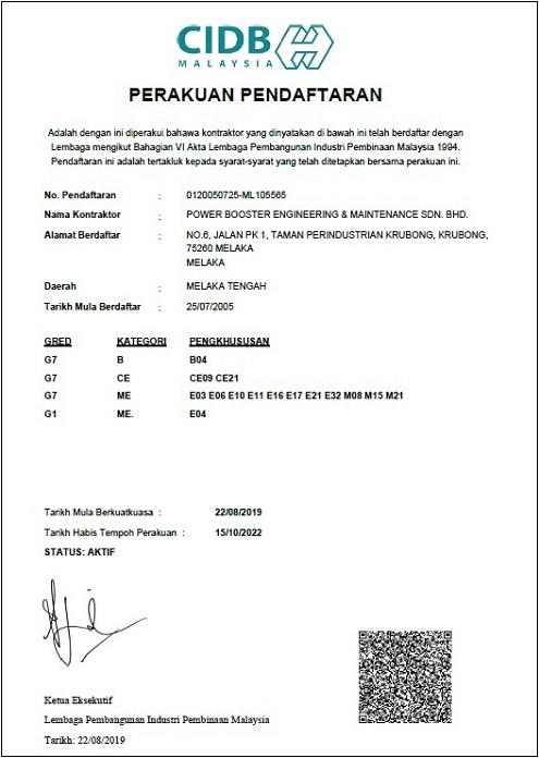CIDB (Reg. No.: 0120050725-ML105565)