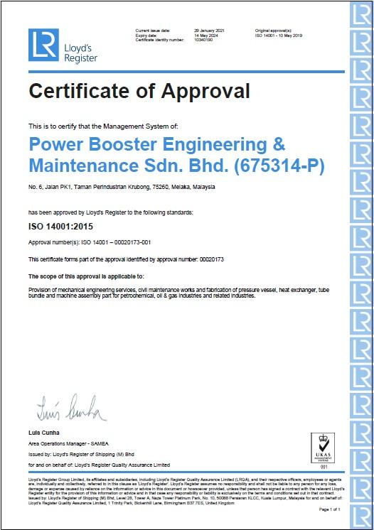 ISO 14001:2015 (Cert.No. 10340190)