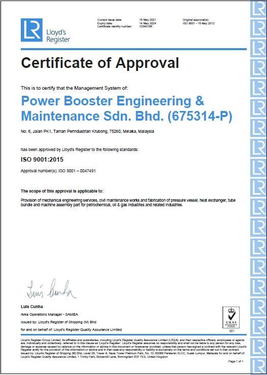 ISO 9001: 2015 (Cert. No.: 10340186)
